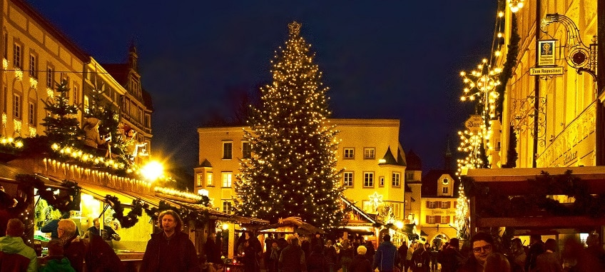 Christmas Market with Lit Tree