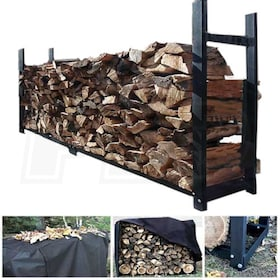 "Woodeze 144"" Heavy Duty Outdoor Firewood Rack With Full Cover"