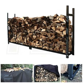 "Woodeze 120"" Heavy Duty Outdoor Firewood Rack With Full Cover"