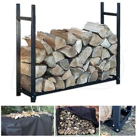 "Woodeze 60"" Heavy Duty Outdoor Firewood Rack With Full Cover"